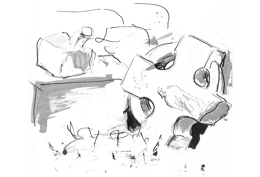 Landschaft   Tuschezeichnung