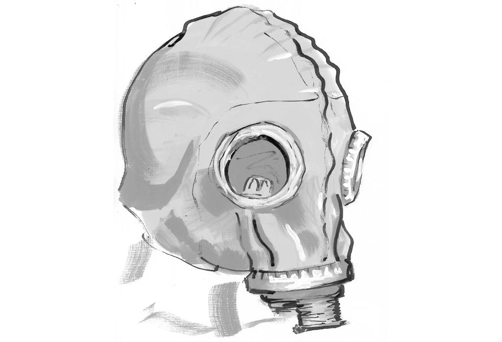 Gasmaske   Tuschezeichnung