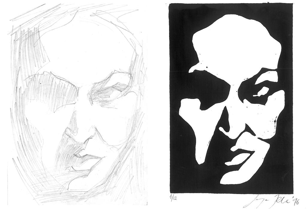 Selbstportrait | Zeichnung und Linolschnitt