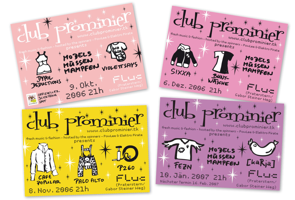 Club Prominier | Veranstaltungsflyer | Entwurf und Gestaltung | 2006–2007