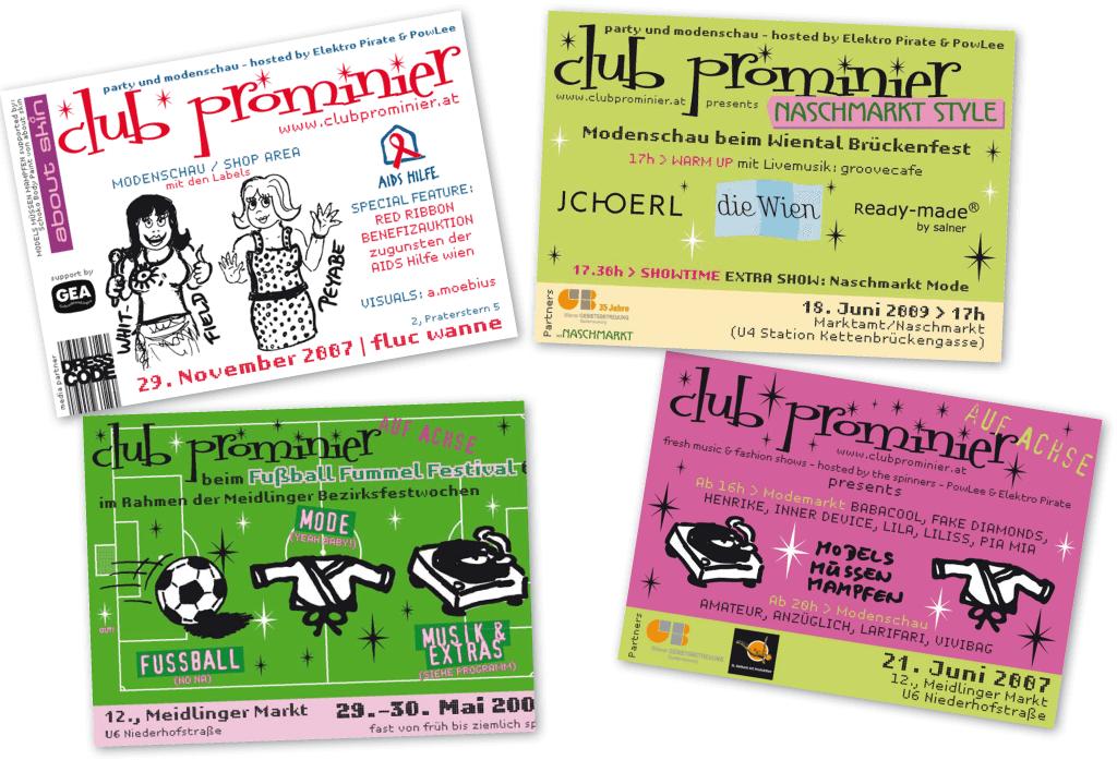 Club Prominier | Veranstaltungsflyer | Entwurf und Gestaltung | 2007–2008