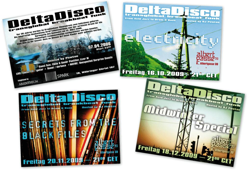 DeltaDisco | Veranstaltungsflyer | Entwurf und Gestaltung | 2006-2009