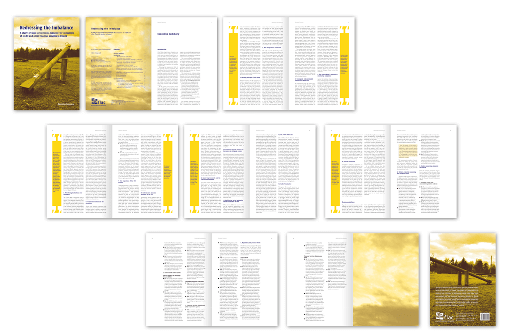 FLAC (Free Legal Advice Centres), Ireland | Redressing the Imbalance Executive Summary | Coverfoto, Illustrationen, Entwurf und Gestaltung | 2014