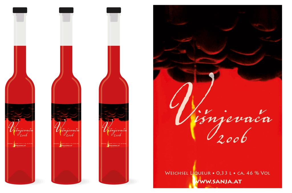 sanja.at | Weichsel Liqueur Etikette | Entwurf und Gestaltung | 2006