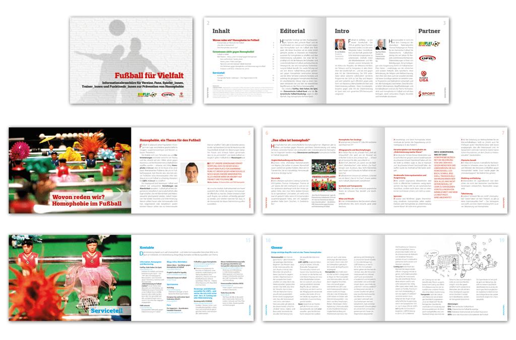 FairPlay, ÖFB, Bundesliga | Fußball für Vielfalt – Informationsbroschüre zur Prävention von Homophobie | Entwurf und Gestaltung | 2014
