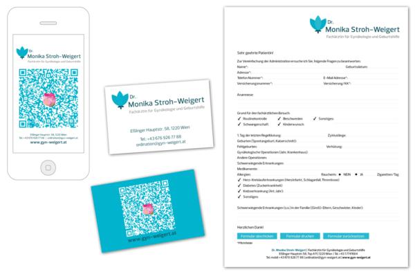 Dr. Monika Stroh-Weigert | Visitenkarte, Formular | Entwurf und Gestaltung | 2014