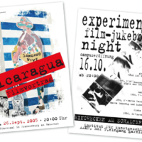 Nicaragua Filmvortrag, experimental film-jukebox night im AAKH  Plakate   Entwurf und Gestaltung   2005 und 1998