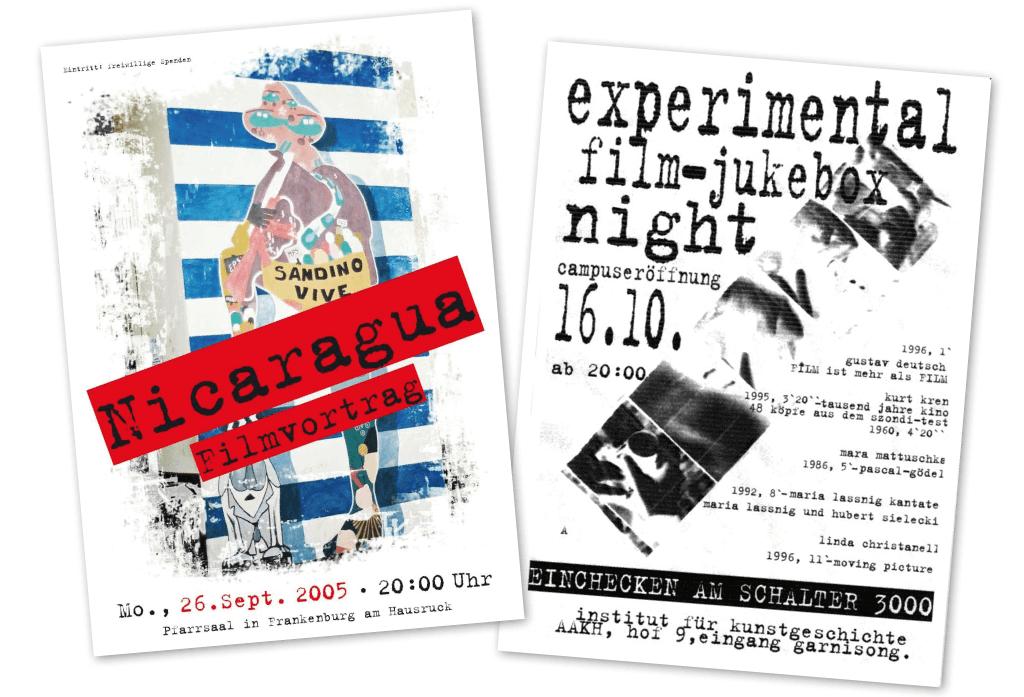 Nicaragua Filmvortrag, experimental film-jukebox night im AAKH| Plakate | Entwurf und Gestaltung | 2005 und 1998