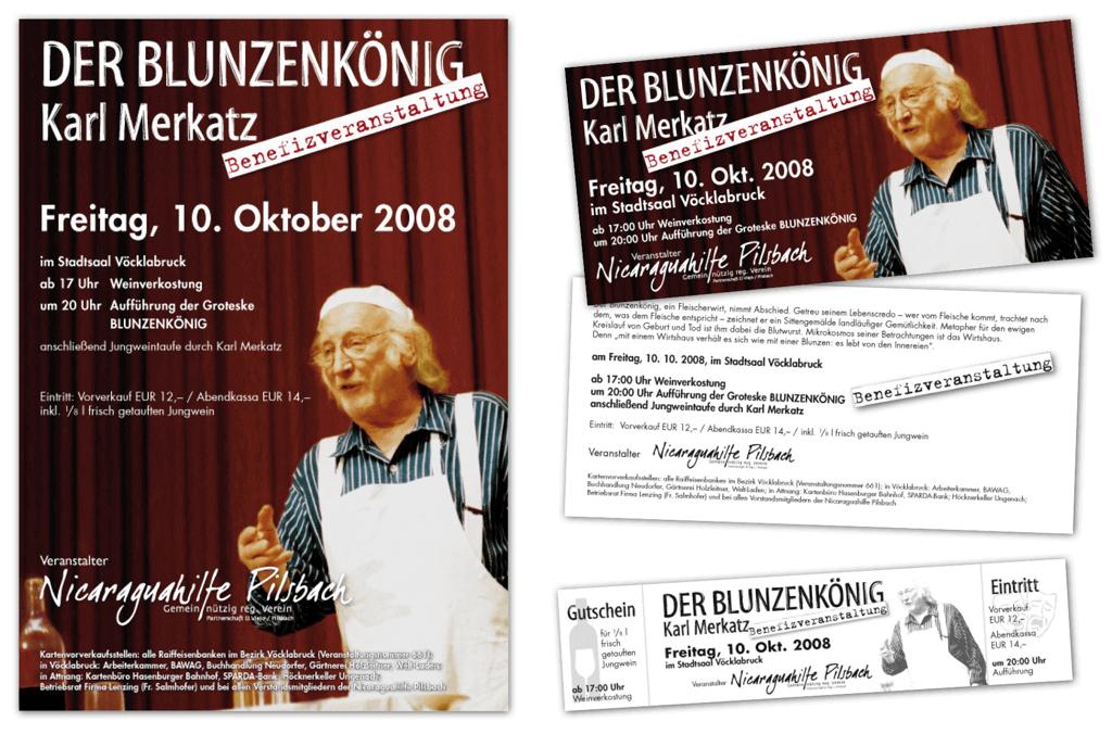 Nicaraguahilfe Pilsbach Benefizveranstaltung | Plakat, Flyer, Eintrittskarten | Entwurf und Gestaltung | 2008