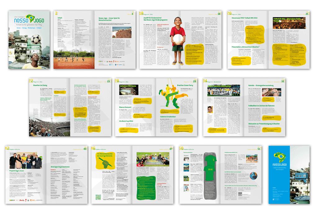Nosso Jogo – Initiative für globales Fair Play, Brasilien 2014 | Programmheft | Entwurf und Gestaltung | 2014