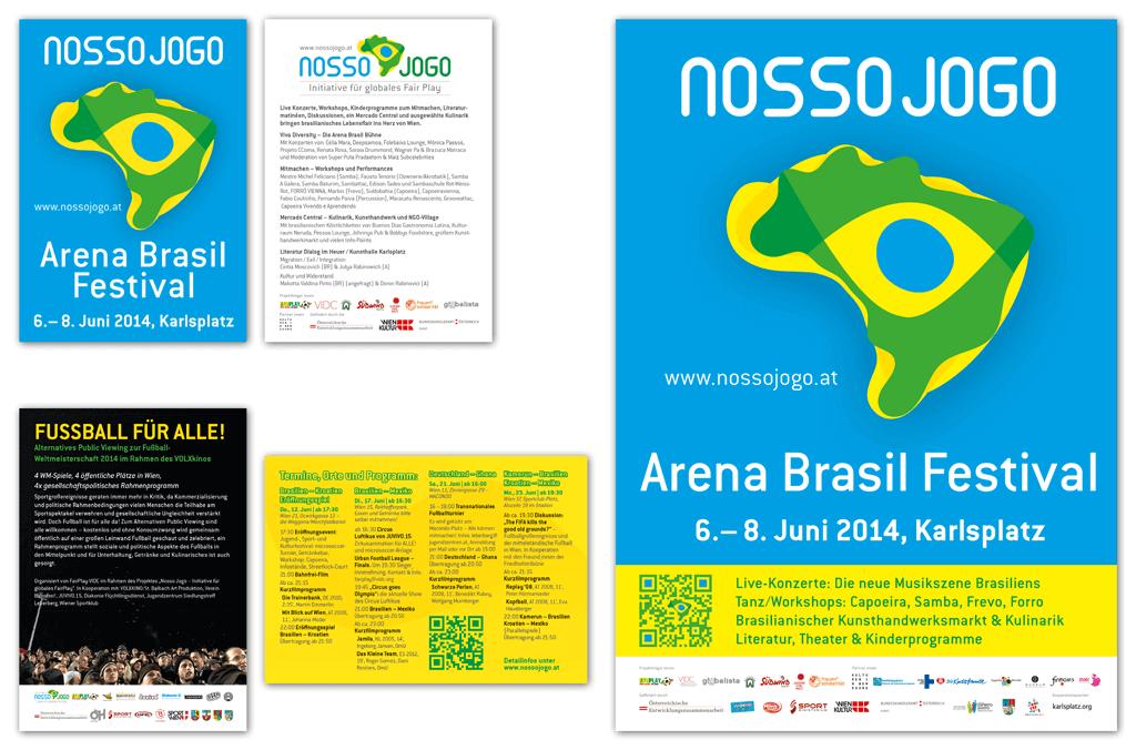 Nosso Jogo – Initiative für globales Fair Play, Brasilien 2014 | Arena Brasil Festival Flyer und Poster und WM 2014 Public Viewing Flyer | Entwurf und Gestaltung | 2014