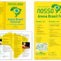 Nosso Jogo – Initiative für globales Fair Play, Brasilien 2014 | Arena Brasil Festival Programmfolder und -Poster | Entwurf und Gestaltung | 2014