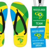 Nosso Jogo – Initiative für globales Fair Play, Brasilien 2014 | Flip-Flops,  VIP-Karten | Entwurf und Gestaltung | 2014