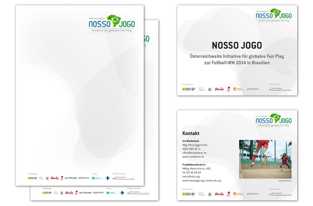 Nosso Jogo – Initiative für globales Fair Play, Brasilien 2014 | Briefpapier, PowerPoint Präsentation | Entwurf und Gestaltung | 2013