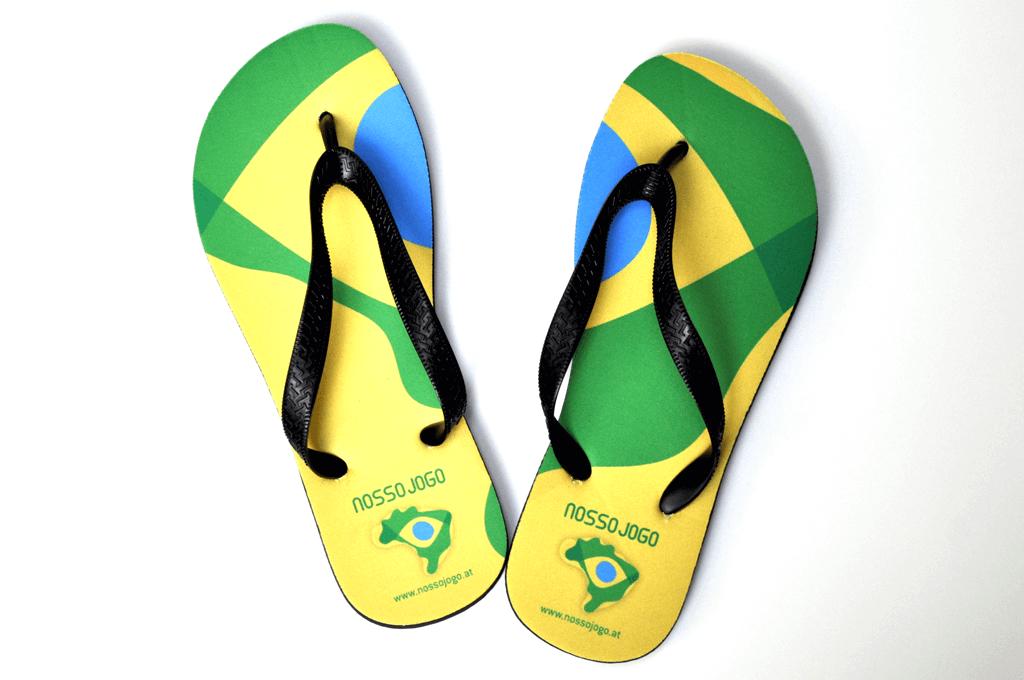 Nosso Jogo – Initiative für globales Fair Play, Brasilien 2014 | Flip-Flops | Entwurf und Gestaltung | 2014
