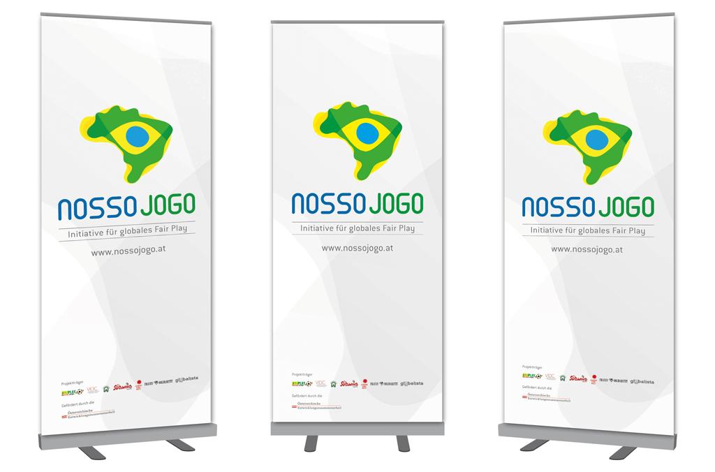Nosso Jogo – Initiative für globales Fair Play, Brasilien 2014 | Rollup | Entwurf und Gestaltung | 2013