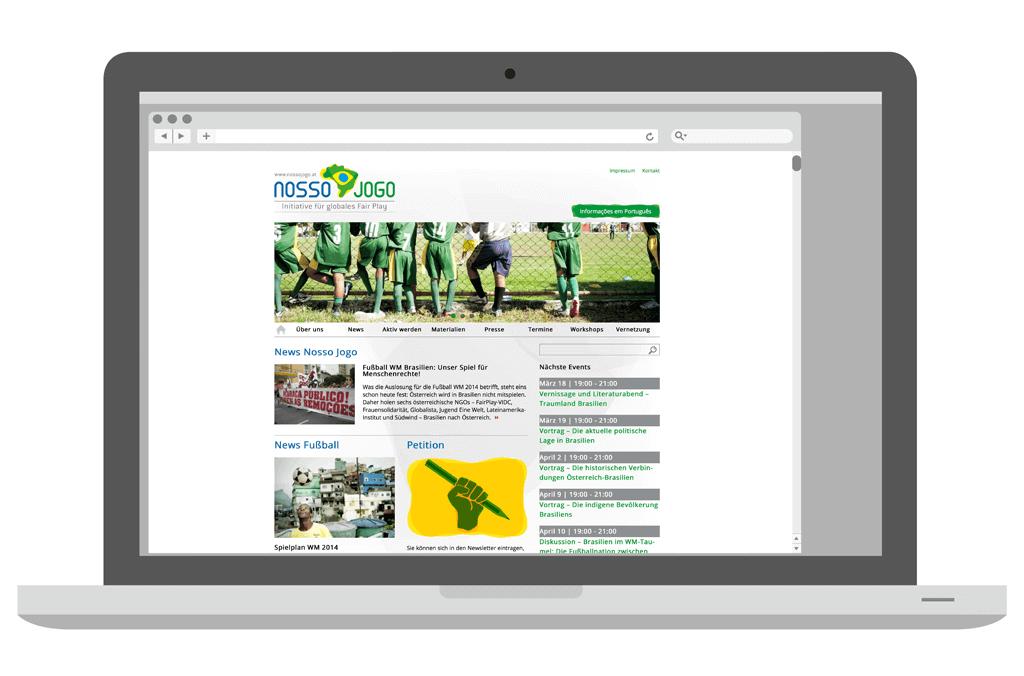 Nosso Jogo – Initiative für globales Fair Play, Brasilien 2014 | Website Design | Entwurf und Gestaltung | 2014