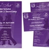 Schulball der Schulen St. Ursula & Sacré Coeur | Plakat, Flyer, Eintrittskarten | Entwurf und Gestaltung | 2009