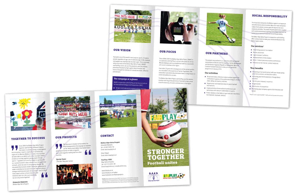 FairPlay, Stronger Together | Folder in deutscher und englischer Sprache sowie auf Bosnisch/Kroatisch/Serbisch | Entwurf und Gestaltung | 2013
