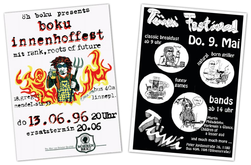 TÜWI | Plakate, Flyer | Entwurf und Gestaltung (Zeichnungen: Paul Lohberger) | 1995-1998