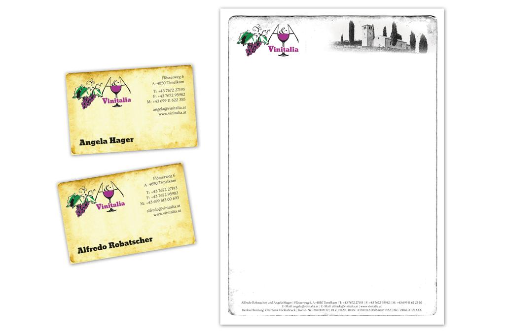 Weinhandel A&A Vinitalia | Visitenkarte, Briefpapier | Entwurf und Gestaltung | 2006–2013