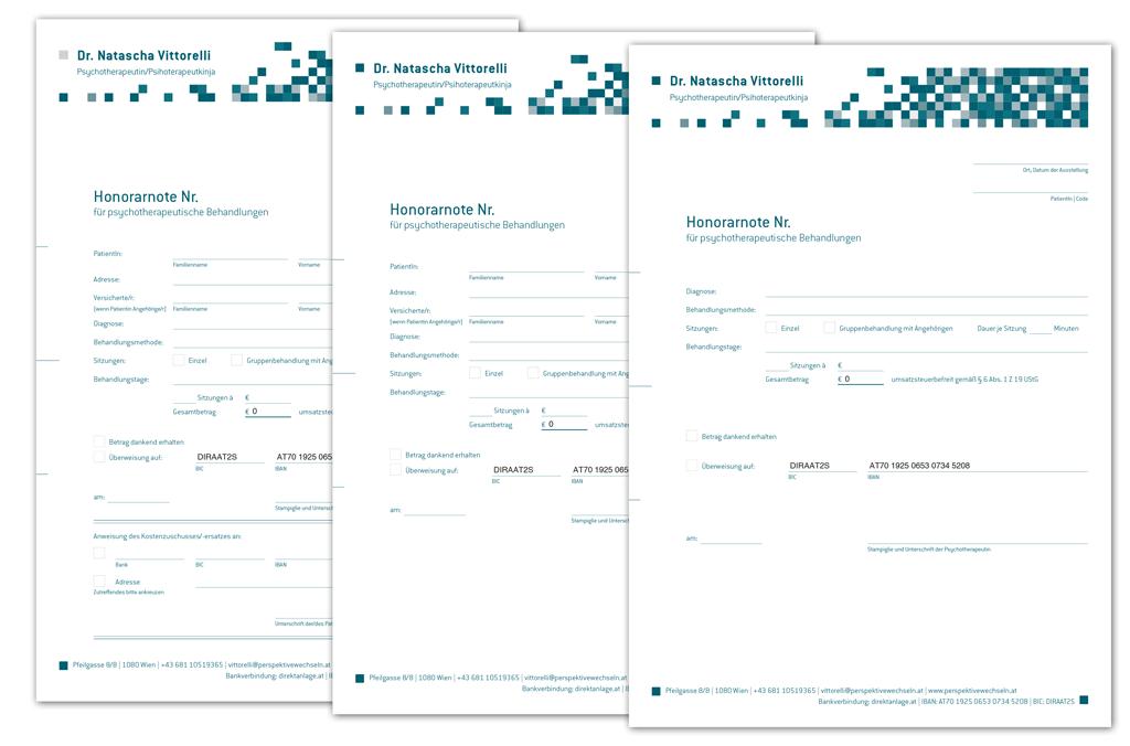 Psychotherapeutin Dr. Natascha Vittorelli | Österr. Bundesverband für Psychotherapie (ÖBVP) konformes pdf-Honorarnoten-Formular | Entwurf und Gestaltung | 2013