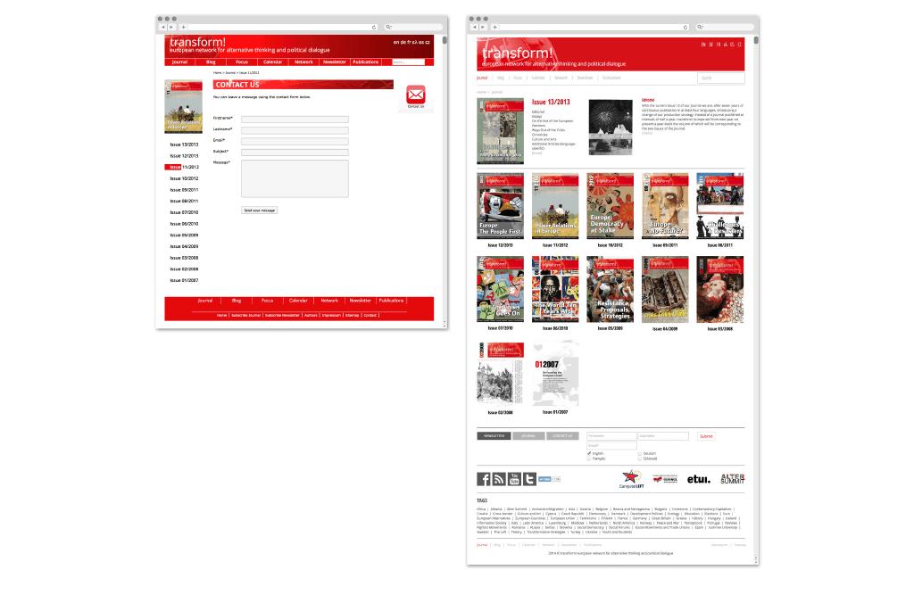 transform! europe   Zeitschriften-Übersicht www.transform-network.net vor und nach Redesign   Entwurf und Gestaltung   2014