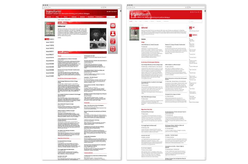 transform! europe | Zeitschrift www.transform-network.net vor und nach Redesign | Entwurf und Gestaltung | 2014