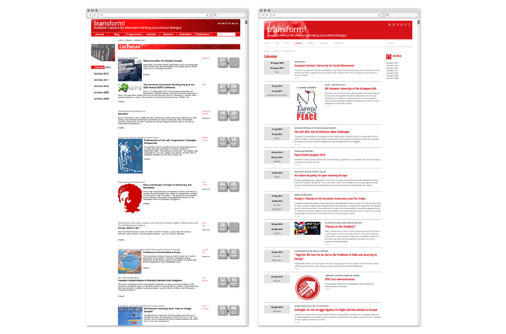 transform! europe | Kalender www.transform-network.net vor und nach Redesign | Entwurf und Gestaltung | 2014