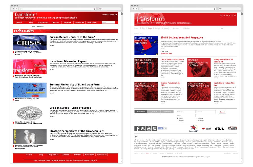 transform! europe | Fokus www.transform-network.net vor und nach Redesign | Entwurf und Gestaltung | 2014