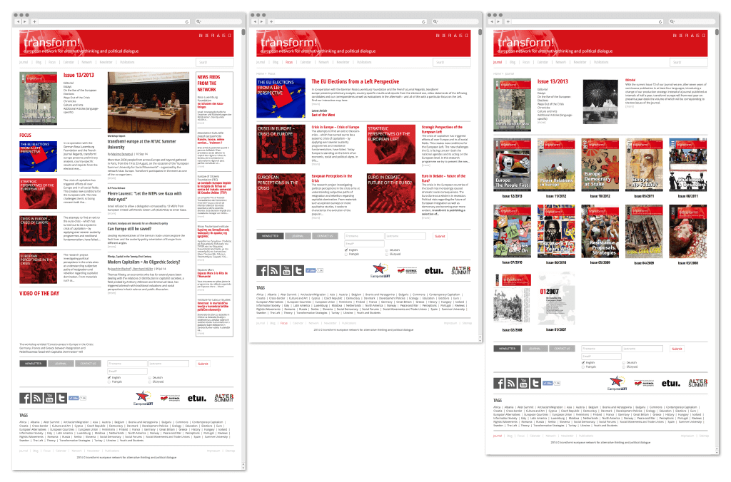 transform! europe | Webseite www.transform-network.net Redesign | Entwurf und Gestaltung | 2014