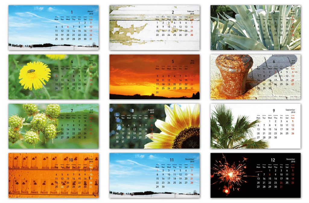 Kalender   Fotografie, Entwurf und Gestaltung   2010