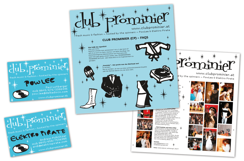 Club Prominier | Visitenkarten, Infoblatt | Entwurf und Gestaltung | 2007
