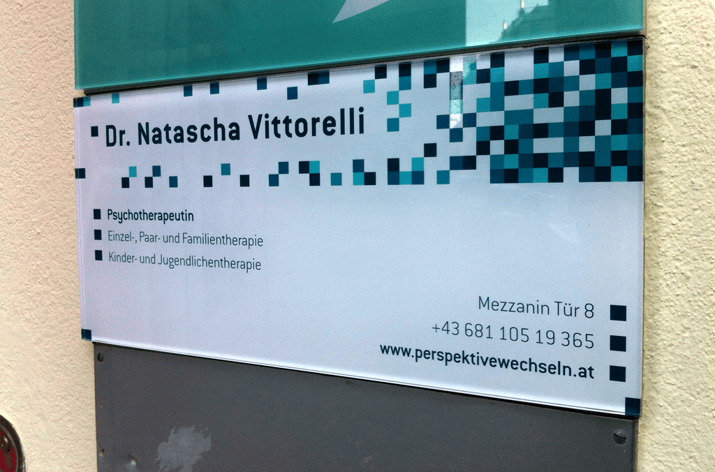 Psychotherapeutin Dr. Natascha Vittorelli | Praxisschild