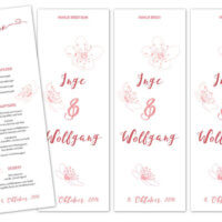 Hochzeitsmenus mit Tischbezeichnung | Entwurf und Gestaltung | 2016
