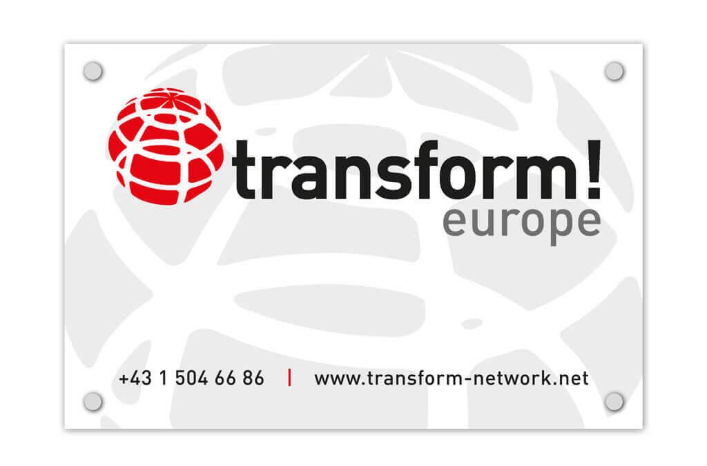 transform! europe | Türschild | Entwurf und Gestaltung | 2017